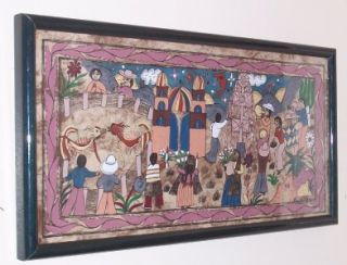Mexican Latino Amate Folk Art Claudia Marulo A Painting