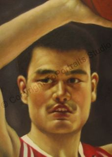 Yao Ming Houston Rockets   Original Basketball NBA Oil Painting on