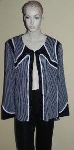 Ming Wang Black White Jacket Plus Size 2X