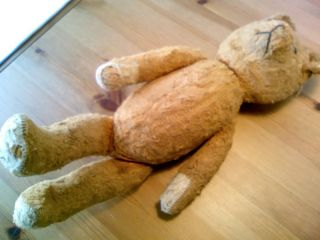Charming Old Circa 1915 Stuffed Teddy Bear with Articulated Jointsand