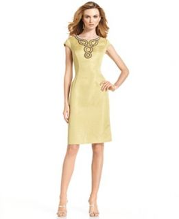 Jones New York Dress, Cap Sleeve Beaded Jacquard Sheath