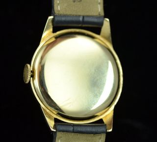 Vintage Round 14k Vintage Mens Manual Wind Solid Yellow Gold