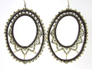 Miguel Ases Gold Tone Brown Leather Bead Hoop Earrings