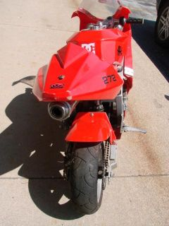 Red APC Crotch Rocket Mini Motorcycle Kids Pocket Bike 45cc for Parts