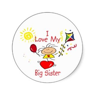 Love Big Sister Stick Figure Girl Stickers