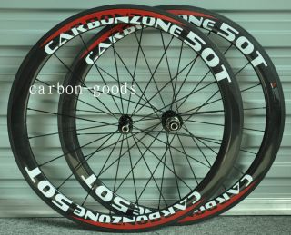 Finish Logo Carbon Fiber Road Bike 50mm Tubular Wheels Wheelset