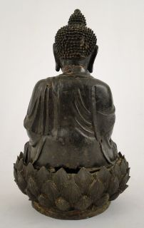 Antique Chinese Ming Dynasty Bronze Seated Buddha on Lotus Leaf Base