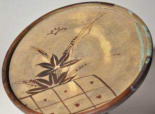 Japanese Antique Mingei Seto Oribe Oil Plate Andon Abura Edo Period