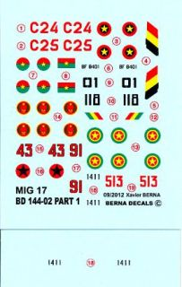 Berna Decals 1 144 Mikoyan MIG 17 Fresco Fighter African Air Forces