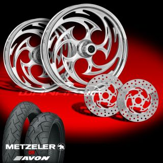 Savage Chrome 21 Wheels Tires Dual Rotors for 2009 13 Harley Touring