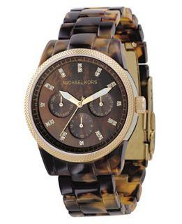 Michael Kors Watch, Womens Chronograph Ritz Acrylic Tortoiseshell