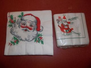 CHRISTMAS 1970s/80s SANTA CLAUS PAPER NAPKINS 20 LARGE 50 SMALLER