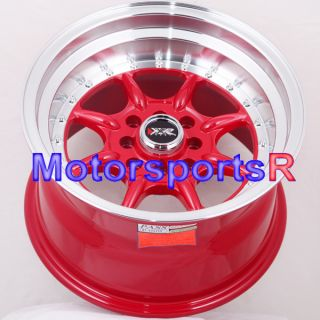 15 9 15x9 XXR 002 Red Rims Wheels Deep Dish Step Lip Stance 4x100