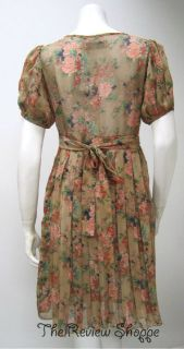 Mina Floral Print Lace Bodice Tea Dress Tan Brown Floral Multicolor M