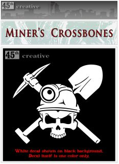 Miners Crossbones Decal Skull N Bones Pick Shovel Professional Miners