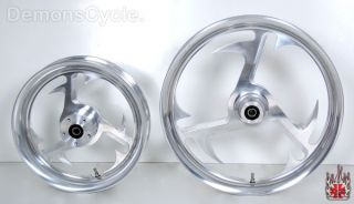 21 16x3 Custom Polished Billet Wheels Front Rear for Harley Softail