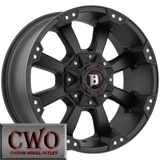 20 Black Ballistic Morax Wheels 8x165 1 8 Lug Chevy GMC 2500HD Dodge