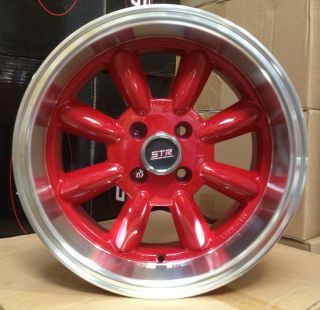 15X7.5 STR 503 4X100 +10 RED WHEEL FIT CIVIC SI Del Sol CRX Miata MR2