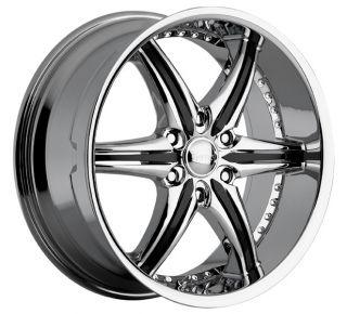 22 inch Cattivo 724 Chrome Black Wheels Rims 6x5 6x127