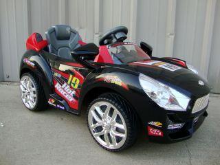 Black Hot Kids Ride On Racer Car 6v Battery Power Sports Car RC Wheels