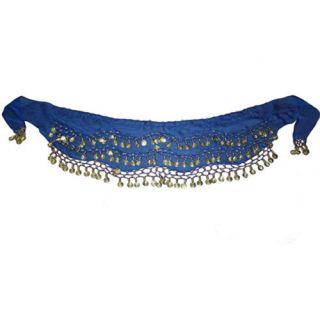 Blue Belly Dance Gold Coin Hip Scarf Belt Chiffon Skirt
