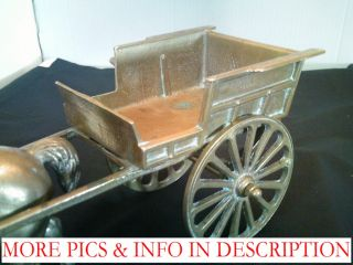 Large Heavy Brass Horse Cart w Turning Wheels