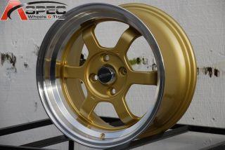 15X8 CHIKARA RS6 4X100 +30 GOLD WHEEL FIT HONDA CIVIC EX SI Hatchback