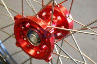 Rear 19 16 MX Wheel Wheels Set Black Rim Red Hub 2007 12 M