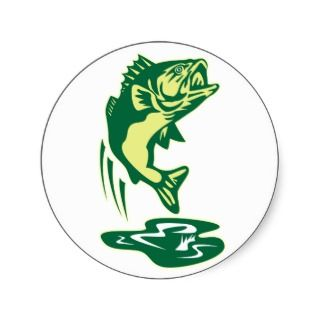 Largemouth Bass fish jumping Sticker