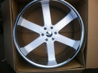 28 Gloss White Rims Chrome Lip Tires 6x139 Yukon Denali GMC Titan QX