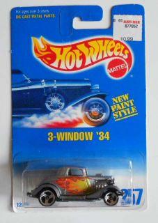Hot Wheels B w Card 257 3 Window 34 Silver w 3sps Mint on Card