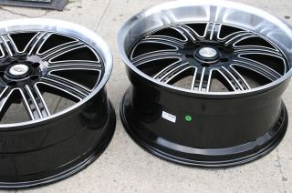 SPRINGDALE 22 BLACK RIMS WHEELS M35 STAGGERED / 22 X 9.0/10.5 5H +32