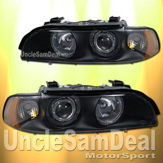 BMW E39 5 Series Dual Halo Rims Angel Eye Clear Projector Headlights