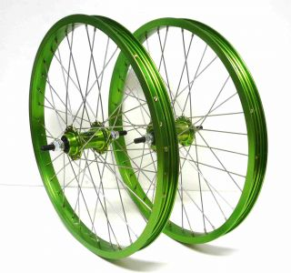 New BMX Bike Bicycle 20 x1 75 Wheels F R Rims Green