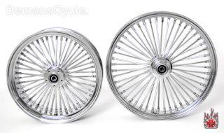 Set of Chrome Fat Mammoth Wheels 21x3 18x5 5 48 Spokes 200 Fits Custom