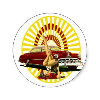 Hot Rod Pin Up Girl Sticker