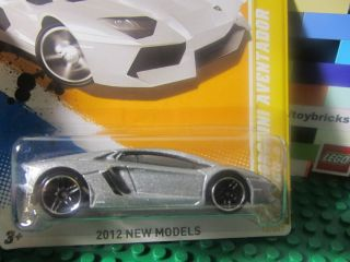 Hot Wheels Silver Lamborghini Aventador Diecast 2012 New Models Series
