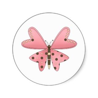 Cute as a Bug · Pink & Brown Butterfly Sticker
