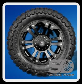 20 XD MONSTER BLACK RIMS W/ 35X12.50X20 TOYO OPEN COUNTRY MT TIRES