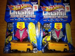 Hot Wheels Light Speeders VW Drag Bus RARE Both Colors