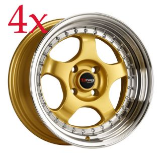 Drag Wheels Dr 46 15x7 4x100 ET10 Gold Rim Civic Integra Miata Yaris