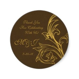 Custom Wedding Favor Labels Round Sticker