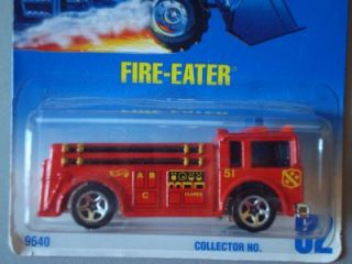 Hot Wheels Old Blue Card Fire Eater Red Fire Truck