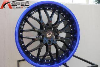 18x8 G Line G901 Wheel 5x110 38 Black Blue Rim Fits Malibu Aura Astra