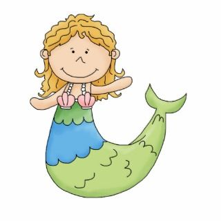 Cute Blond Mermaid Girl Fish Design Photo Cut Outs