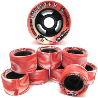 Grip Twister Red & White Quad Speed Roller Skate Wheels   8 Count Set