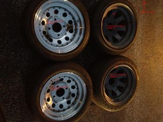 VW Beetle Karman Ghia Steel Wheels 15x8 4x130 Set of 4 with Used Tires