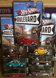 2012 Hot Wheels Boulevard E Case Complete 7 Car Set Fiero Amphicar