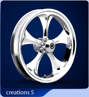 Forge Tec 3D Creations 5 Chrome Motorcycle Wheels