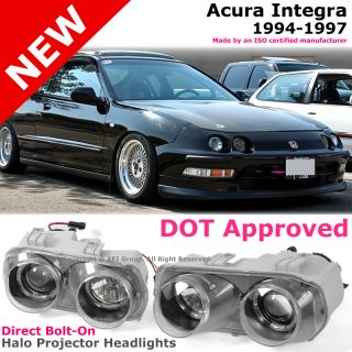 94 97 Acura Integra DC2 JDM Style Halo Rim Angel Eye Projector